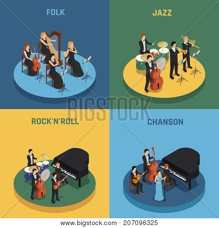 Orchestra playing various music rock n roll chanson folk and jazz isometric 2x2 concept isolated on colorful backgrounds 3d vector illustration