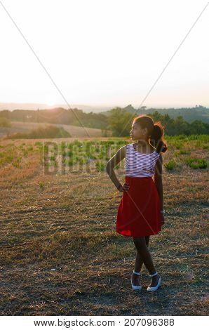 Young Tourist In Tuscany Admires The Landscape