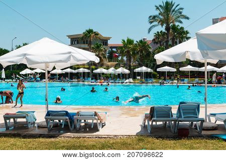 Side, Turkey - June, 26, 2017: The pool and the people at the hotel Cesar Palace in Side