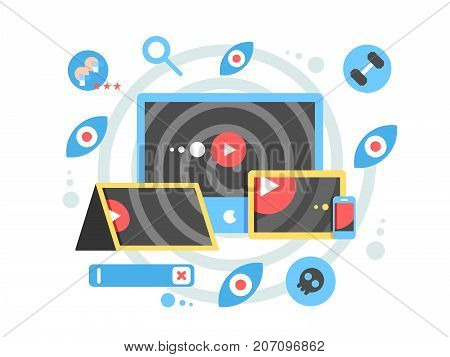 Watch video clip on tablet device concept. Movie media on player internet, online vlog video clip, vector illustration