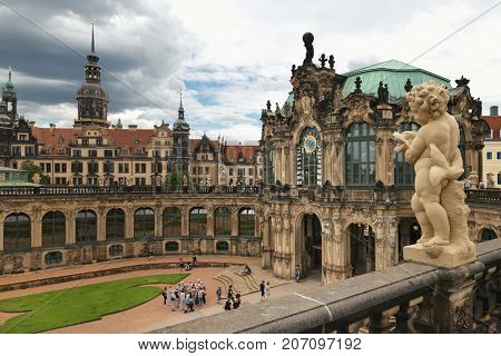 Dresden, Germany - August 4, 2017: Zwinger - Late German Baroque, Founded In The Early 18Th Century.