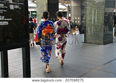 Two geishas taking a walk in Kyoto, Japan
