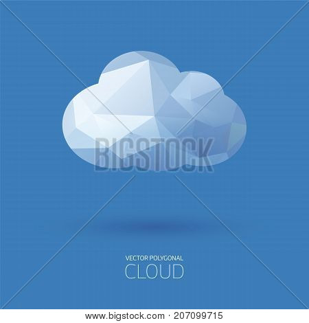 Vector polygonal cloud background on blue background.