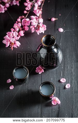 Ready To Drink Sake With Blooming Flowers