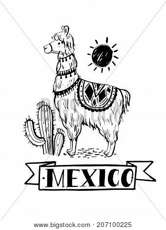 Lama cactus and sun. Emblem of Mexico. Hand drawn illustration converted to vector