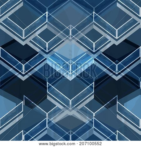 Geometric blue and white seamless abstract pattern