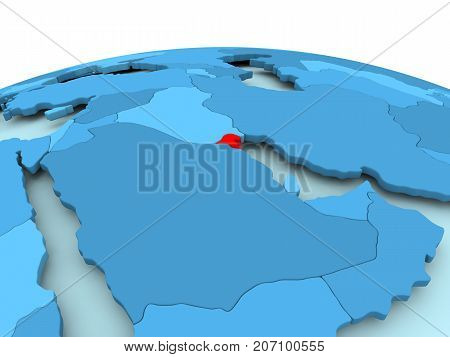 Kuwait On Blue Political Globe
