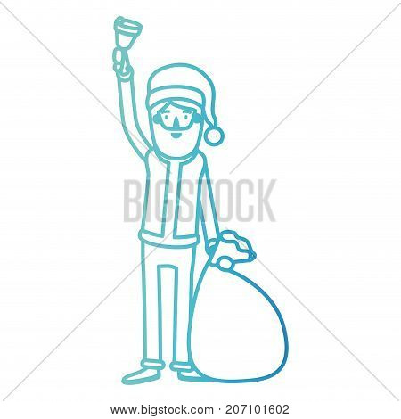santa claus caricature full body holding a hand bell and gift bag with hat and costume on gradient color silhouette from blue to purple vector illustration