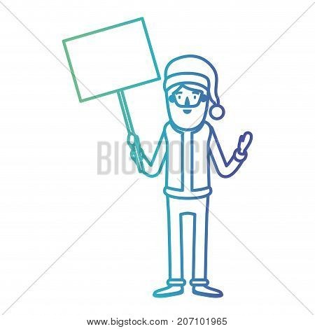 santa claus caricature full body holding a poster with pole with hat and costume on gradient color silhouette from blue to purple vector illustration