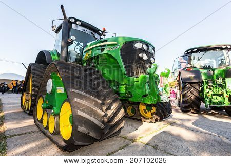 Samara Russia - September 23 2017: Rubber track John Deere 7830 agricultural tractor on display at the annual Volga agro-industrial exhibition