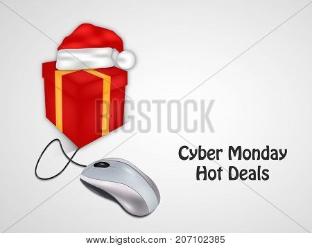 illustration of gift box, hat and mouse with Cyber Monday Hot Deals text on the occasion of Cyber Monday