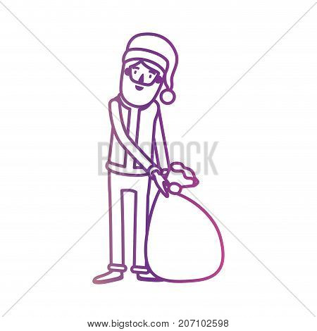 santa claus caricature full body dragging a gift bag with hat and costume on gradient color silhouette from yellow to fuchsia vector illustration