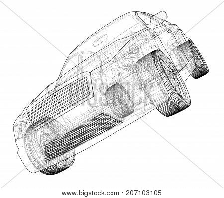 Concept car. Vector rendering of 3d. Wire-frame style. The layers of visible and invisible lines are separated