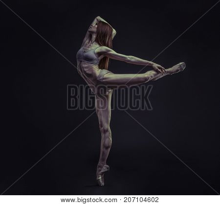 elegance and beauty of a ballet dancer model with great musculature and beautiful body
