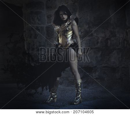 Cosplay in silver and gold armor, beautiful brunette woman with long red coat and brown hair