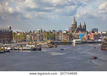 View of Amsterdam center waterfront at Oosterdock