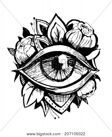 All seeing eye. Tatto sketch. Vector illustration