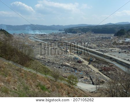 the effects of the tsunami in Japan. Disaster occurred in Japan in 2011