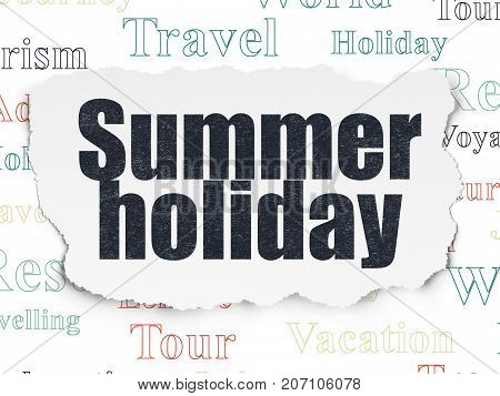 Travel concept: Painted black text Summer Holiday on Torn Paper background with  Tag Cloud