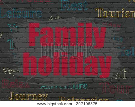 Tourism concept: Painted red text Family Holiday on Black Brick wall background with  Tag Cloud
