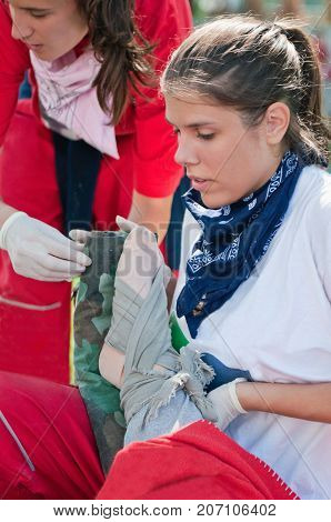 Two Female Paramedics On Exercise, Color Image, Selective Focus, Outdoors