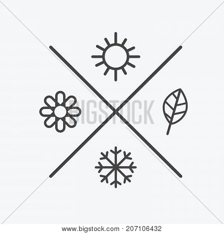 Vector set four seasons icons. the seasons winter spring summer autumn. Flat style, simple lines elements. Weather forecast. sun, flower, snowflake, leaf symbols.