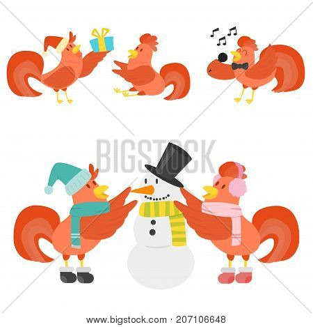 Cute cartoon rooster illustration chicken farm animal agriculture domestic character. Hen fowl color beak fowl cockerel organic symbol.