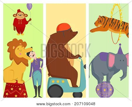 Circus funny animals set of vector cards design. Cheerful zoo entertainment collection. Juggler magician performer carnival illustration. Vintage acrobat character.