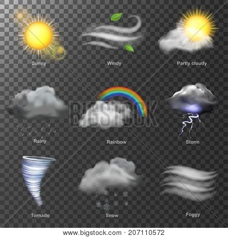 Set of weather icons vector illustration. Weather realistic 3d icons vector. set Sun, cloud, rainbow, storm wind. Meteorology sky or sun nature element for web application.