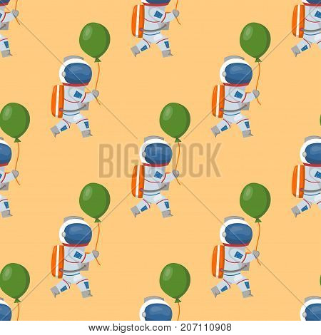 Vector astronauts in space seamless pattern character and having fun spaceman galaxy atmosphere system fantasy traveler man. Gravity floating journey suit astronomy characters.