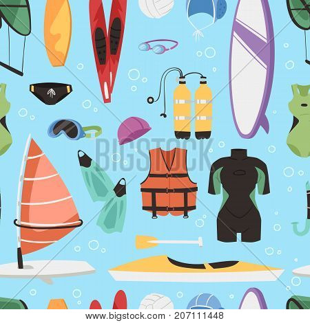 Kite boarding fun ocean extreme water sport canoe surfer sailing leisure ocean activity summer recreation extreme vector illustration. Surfing nature kayaking seamless pattern backgroun.