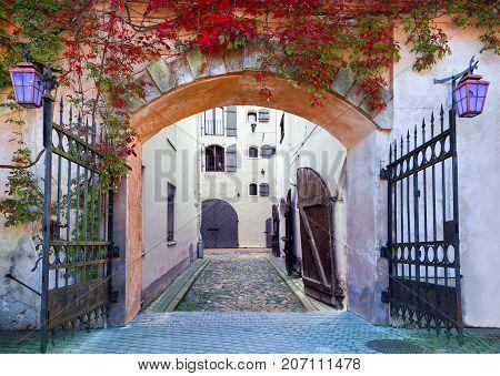 Beautiful fairyland in old medieval European city