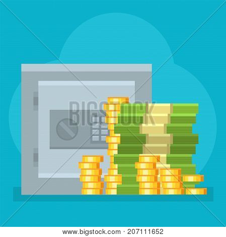 Money safe deposit vector commercial group strongbox. Payment investment bag graphic safepay earning wallet. Cash pictogram card currency exchange dollar sign.