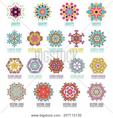 Abstract triangular polygonal shape kaleidoscope geometry logo template circle decorative vector illustation. Abstract kaleidoscope geometry logo template badges vector illustation.