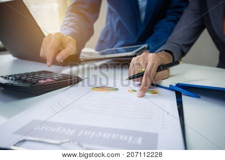 Business and finance concept : Business team meeting consulting the project. Professional investor working project planning.
