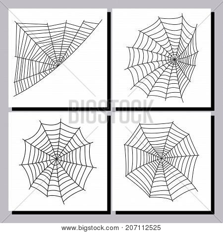 Spider web silhouette arachnid fear graphic flat scary animal poisonous design nature phobia insect danger horror tarantula halloween vector icon. Creepy warning symbol poison silhouette.