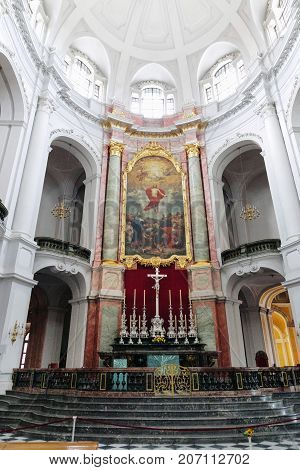 Dresden, Germany - August 4, 2017: Dresden Hofkirche Catholic Court Church - Cathedral Of The Dioces