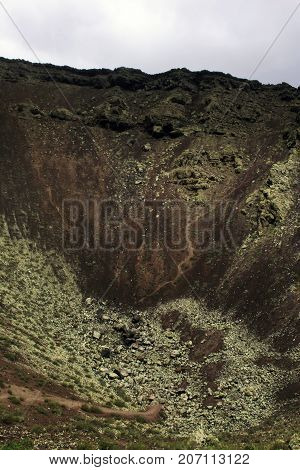 Inside the crater of a volcano