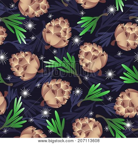 Vector pattern - pine cones green and dark blue twigs of pine snowflakes.