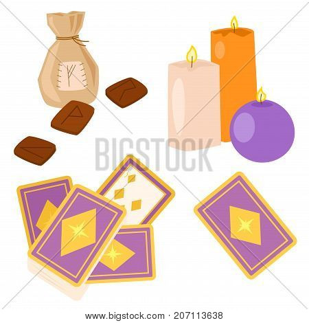 Special magic effect trick occult esoteric magician surprise entertainment fantasy carnival mystery tools cartoon miracle decoration vector illustration. Fun witchcraft spell event sign.