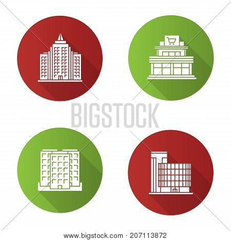 City buildings flat design long shadow glyph icons set. Shopping mall, business center, skyscraper, multi-storey building. Vector silhouette illustration