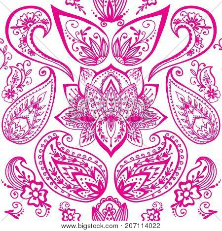 Henna tattoo mehndi flower template doodle ornamental lace decorative element and indian design seamless pattern paisley arabesque mhendi embellishment vector. Traditional decorative mandala element.