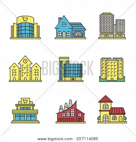 City buildings color icons set. Shopping malls, business centers, cottage, town hall, industrial factory, restaurant, multi-storey building. Isolated vector illustrations