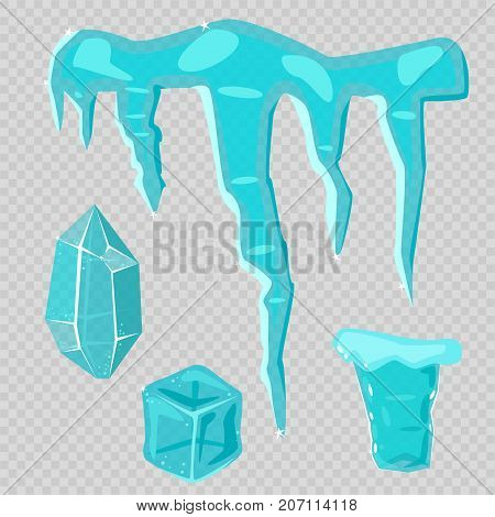 Realistic ice caps snowdrifts and icicles broken piece bit lump cold frozen block crystal winter decor vector illustration. Ice cube 3d snowy cartoon style blue frosty cube bar.
