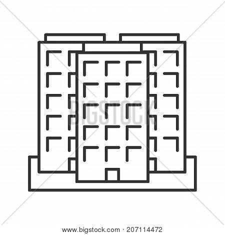Multi-storey building linear icon. Thin line illustration. Apartment house. Contour symbol. Vector isolated outline drawing