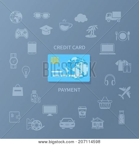 Credit card payment. Cashless payment for goods and services. Credit card and set of service icons. Vector illustration