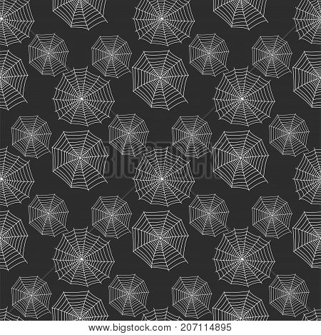 Spider web silhouette arachnid fear graphic flat scary animal seamless pattern background vector.
