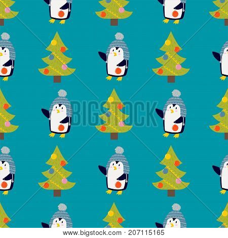 Penguin christmas vector illustration character seamless pattern. Cartoon funny cute animal isolated. Antarctica polar beak pole winter bird. Funny outdoors wild life south arctic.