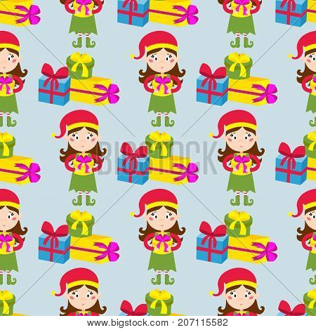 Santa Claus kids cartoon elf helpers vector illustration children elves characters traditional costume. Family christmas kid holiday people seamless pattern.
