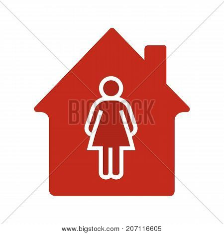 Resident, tenant, owner glyph color icon. House with woman. Silhouette symbol on white background. Negative space. Vector illustration
